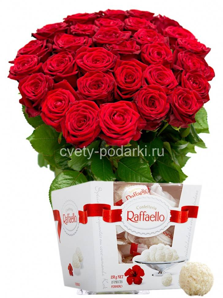Букет красных роз и конфеты «Raffaello» заказать с доставкой по цене ... 63fcd463560e9